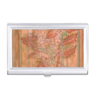 Modern Orange Floral Print on Stripped Background Business Card Holder