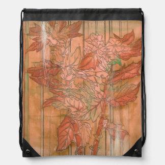 Modern Orange Floral Print on Stripped Background Drawstring Bag