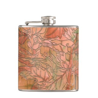 Modern Orange Floral Print on Stripped Background Flasks