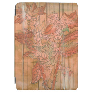 Modern Orange Floral Print on Stripped Background iPad Air Cover