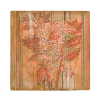 Modern Orange Floral Print on Stripped Background Wood Coaster