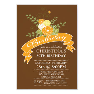 Modern Orange Flowers Floral Birthday Party 13 Cm X 18 Cm Invitation Card