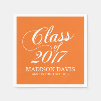 Modern Orange | Graduation Napkins Disposable Napkins
