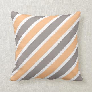 Modern Orange Grey Diagonal Stripes Polyester Throw Pillow