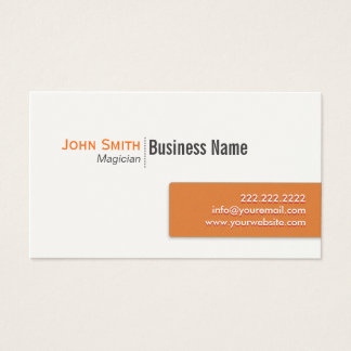 Modern Orange Label Magician Business Card