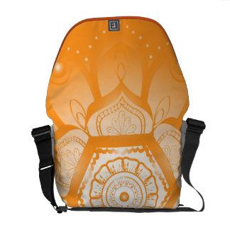 Modern Orange Mandala Messenger Bag
