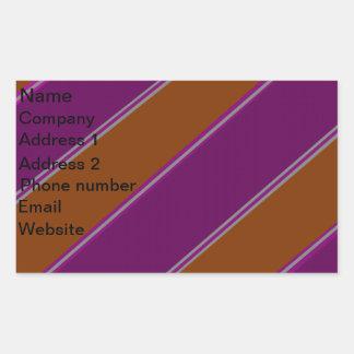 Modern orange purple diagonal stripes rectangular sticker