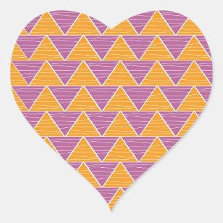 Modern Orange Purple  Triangle ZigZag Pattern Heart Sticker