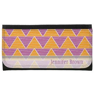 Modern  Orange Purple Triangle Zigzag Pattern Leather Wallets