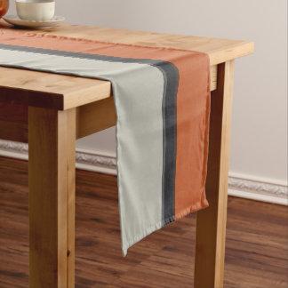 Modern Orange Red Navy Dark Gray Stripe Pattern Short Table Runner