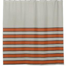 Modern Orange Red Silver Gray Stripe Pattern Shower Curtain