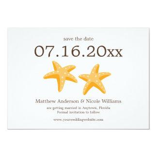 Modern Orange Starfish Save The Date 13 Cm X 18 Cm Invitation Card