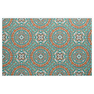Modern Orange Turquoise Ethnic Mosaic Pattern Fabric