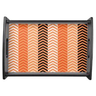 Modern Orange Variegated Chevron Stripes Pattern Serving Tray