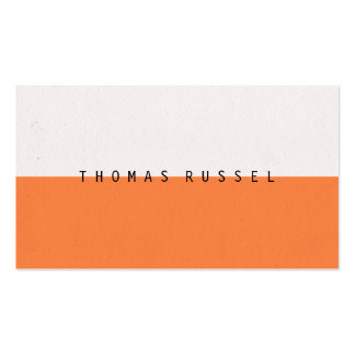 Modern orange white color block contemporary cool pack of standard business cards