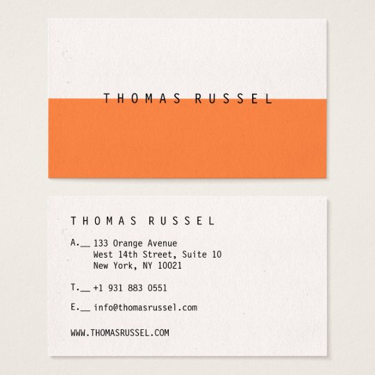 Modern orange white colour block contemporary cool business