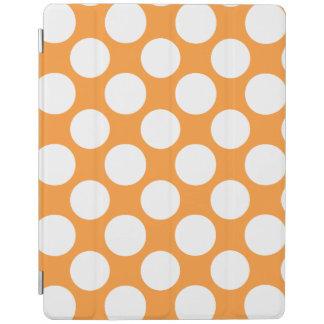 Modern Orange White Polka Dots Pattern iPad Cover