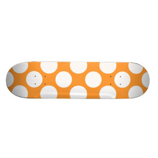 Modern Orange White Polka Dots Pattern Skateboard Decks