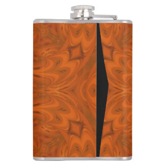 Modern Orange wood Pattern Hip Flask