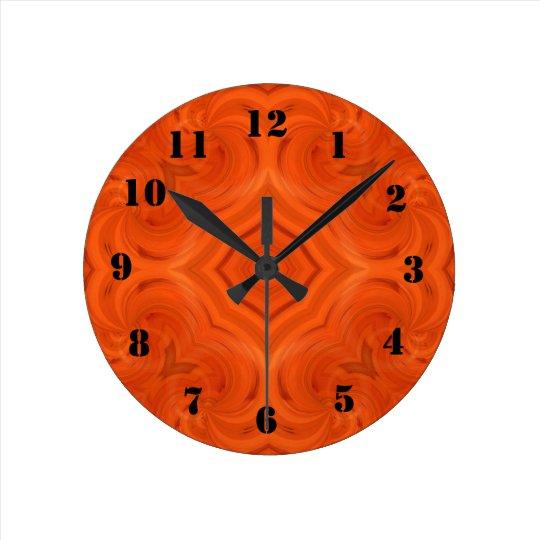 Modern orange wood pattern round clock