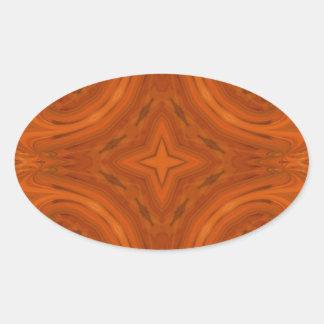 Modern Orange wood Pattern Oval Stickers