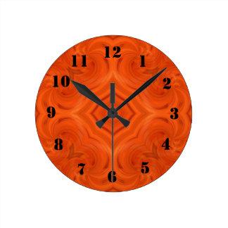 Modern orange wood pattern wall clock