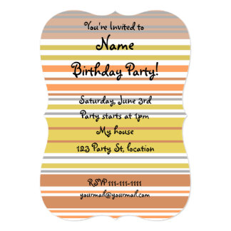 "Modern orange yellow white stripes 5"" x 7"" invitation card"