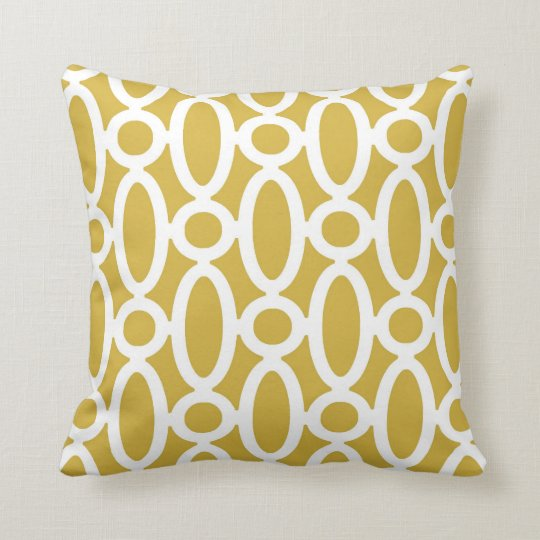 Modern Oval Links Pattern in Mustard and White