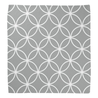 Modern Overlapping Circles Pattern Grey and White Bandana