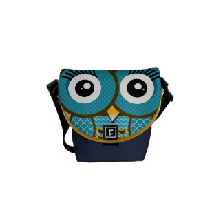 Modern Owl Copper Navy Retro Geometric Pattern Commuter Bag