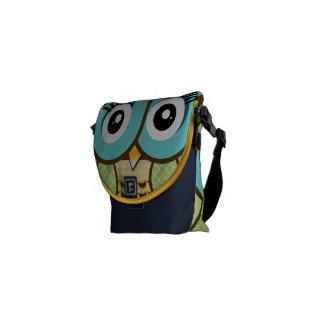 Modern Owl Green Aqua Navy Cute Geometric Pattern Messenger Bag
