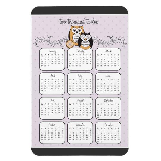 Modern Owls 2012 Calendar Magnet