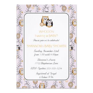 Modern Owls Baby Shower Invitation
