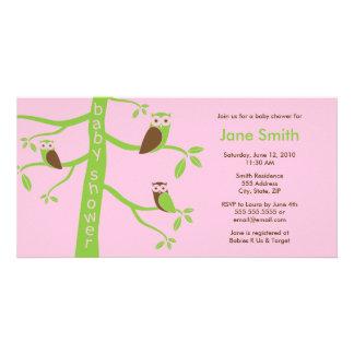Modern Owls Baby Shower Invitation 4 x 8 Custom Photo Card