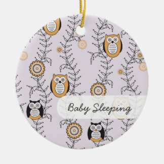 "Modern Owls ""Baby Sleeping"" Door Hanger Christmas Ornament"