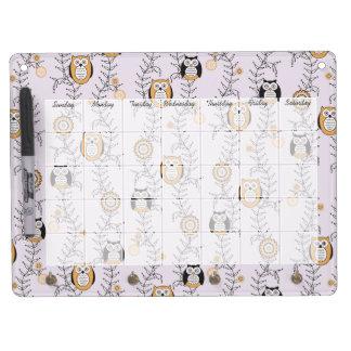 Modern Owls Calendar Dry Erase Board