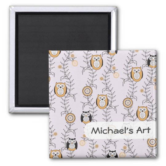 Modern Owls Children's Art Magnet