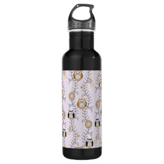 Modern Owls Pattern 710 Ml Water Bottle