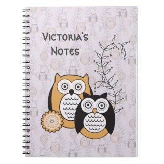 Modern Owls Personalised Notebook