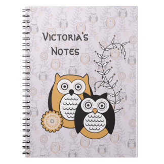Modern Owls Personalized Notebook
