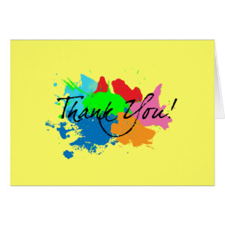 Modern Paint Splatter Thank You Note Card
