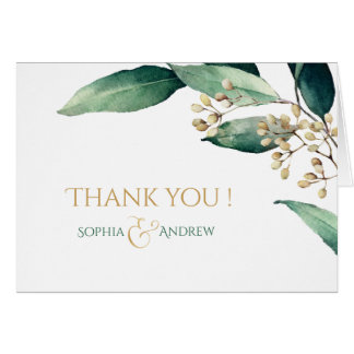 Modern painted botanical greenery rustic thank you card