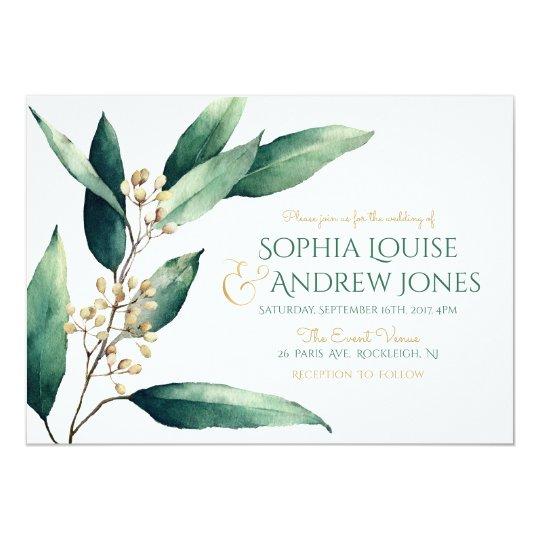 Modern painted botanical greenery rustic wedding card