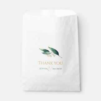 Modern painted botanical greenery rustic wedding favour bags