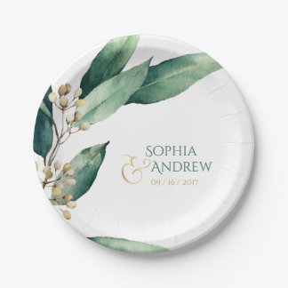 Modern painted botanical greenery rustic wedding paper plate