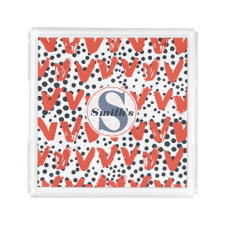 Modern Painted Hearts and Dots pattern Monogrammed