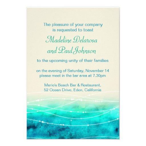 Modern painted sea wedding rehearsal dinner invite