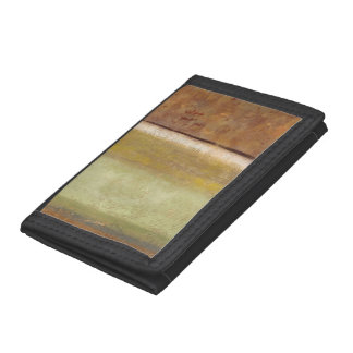 Modern Painting in Earth Tones by Norman Wyatt Trifold Wallets