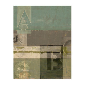 Modern Painting with Assorted Letters Wood Print