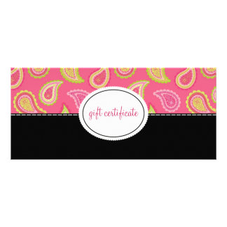 Modern Paisley Boutique Style Gift Certificates Personalised Rack Card